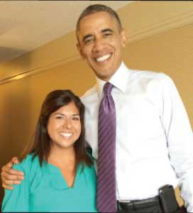 President Obama with Jolie Carrillo-Allen.
